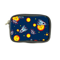 Rocket Ufo Moon Star Space Planet Blue Circle Coin Purse