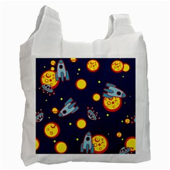 Rocket Ufo Moon Star Space Planet Blue Circle Recycle Bag (Two Side)