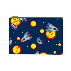 Rocket Ufo Moon Star Space Planet Blue Circle Cosmetic Bag (Large)