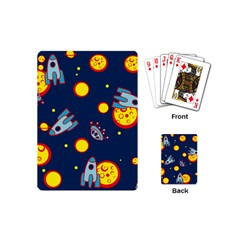 Rocket Ufo Moon Star Space Planet Blue Circle Playing Cards (Mini)
