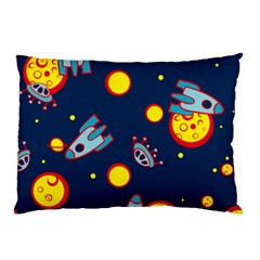 Rocket Ufo Moon Star Space Planet Blue Circle Pillow Case (Two Sides)