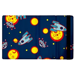 Rocket Ufo Moon Star Space Planet Blue Circle Apple iPad 3/4 Flip Case