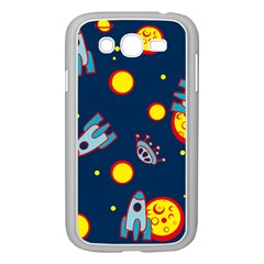 Rocket Ufo Moon Star Space Planet Blue Circle Samsung Galaxy Grand DUOS I9082 Case (White)