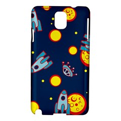 Rocket Ufo Moon Star Space Planet Blue Circle Samsung Galaxy Note 3 N9005 Hardshell Case