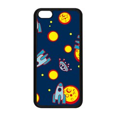 Rocket Ufo Moon Star Space Planet Blue Circle Apple iPhone 5C Seamless Case (Black)