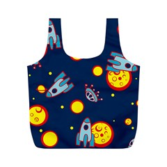 Rocket Ufo Moon Star Space Planet Blue Circle Full Print Recycle Bags (M)