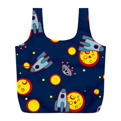 Rocket Ufo Moon Star Space Planet Blue Circle Full Print Recycle Bags (L)