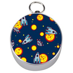 Rocket Ufo Moon Star Space Planet Blue Circle Silver Compasses