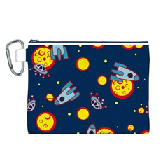 Rocket Ufo Moon Star Space Planet Blue Circle Canvas Cosmetic Bag (L)