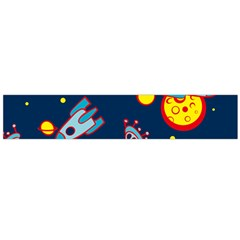 Rocket Ufo Moon Star Space Planet Blue Circle Flano Scarf (Large)