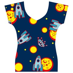 Rocket Ufo Moon Star Space Planet Blue Circle Women s V-Neck Cap Sleeve Top