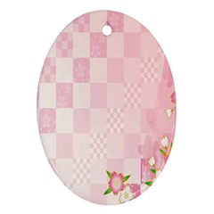 Sakura Flower Floral Pink Star Plaid Wave Chevron Ornament (Oval)