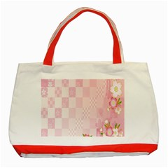 Sakura Flower Floral Pink Star Plaid Wave Chevron Classic Tote Bag (Red)