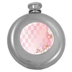 Sakura Flower Floral Pink Star Plaid Wave Chevron Round Hip Flask (5 oz)