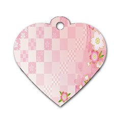 Sakura Flower Floral Pink Star Plaid Wave Chevron Dog Tag Heart (One Side)