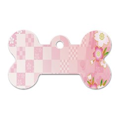 Sakura Flower Floral Pink Star Plaid Wave Chevron Dog Tag Bone (Two Sides)