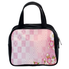 Sakura Flower Floral Pink Star Plaid Wave Chevron Classic Handbags (2 Sides)