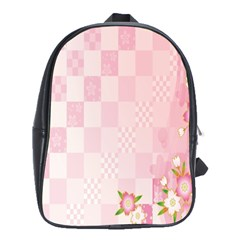Sakura Flower Floral Pink Star Plaid Wave Chevron School Bags(Large)