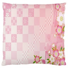Sakura Flower Floral Pink Star Plaid Wave Chevron Large Cushion Case (Two Sides)