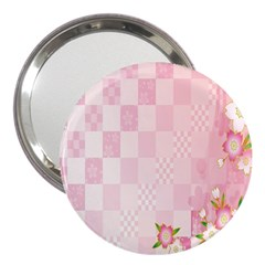 Sakura Flower Floral Pink Star Plaid Wave Chevron 3  Handbag Mirrors