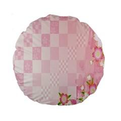Sakura Flower Floral Pink Star Plaid Wave Chevron Standard 15  Premium Round Cushions