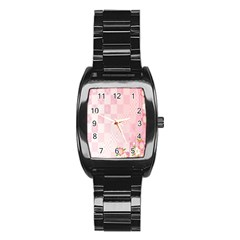 Sakura Flower Floral Pink Star Plaid Wave Chevron Stainless Steel Barrel Watch