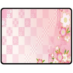 Sakura Flower Floral Pink Star Plaid Wave Chevron Double Sided Fleece Blanket (Medium)