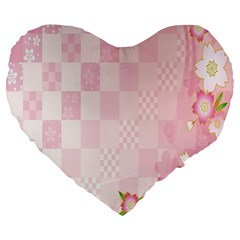 Sakura Flower Floral Pink Star Plaid Wave Chevron Large 19  Premium Flano Heart Shape Cushions