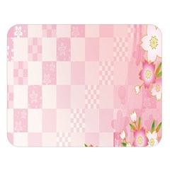 Sakura Flower Floral Pink Star Plaid Wave Chevron Double Sided Flano Blanket (Large)