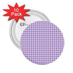 Plaid Purple White Line 2.25  Buttons (10 pack)
