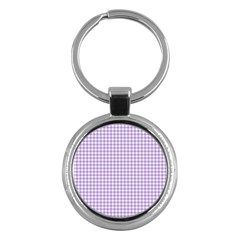 Plaid Purple White Line Key Chains (Round)
