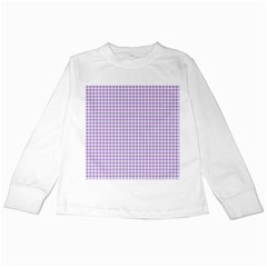 Plaid Purple White Line Kids Long Sleeve T-Shirts