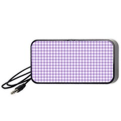 Plaid Purple White Line Portable Speaker (Black)