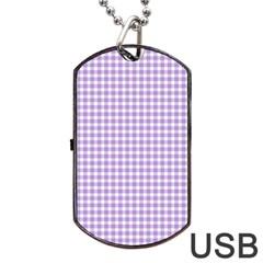 Plaid Purple White Line Dog Tag USB Flash (One Side)
