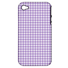 Plaid Purple White Line Apple iPhone 4/4S Hardshell Case (PC+Silicone)