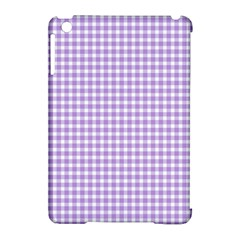 Plaid Purple White Line Apple iPad Mini Hardshell Case (Compatible with Smart Cover)