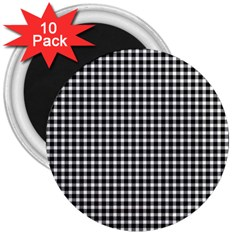 Plaid Black White Line 3  Magnets (10 pack)