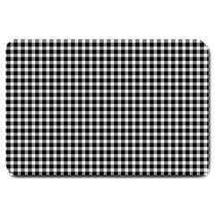 Plaid Black White Line Large Doormat