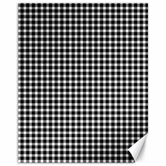 Plaid Black White Line Canvas 11  x 14