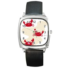 Sand Animals Red Crab Square Metal Watch