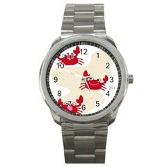 Sand Animals Red Crab Sport Metal Watch