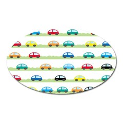 Small Car Red Yellow Blue Orange Black Kids Oval Magnet
