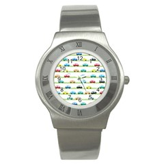 Small Car Red Yellow Blue Orange Black Kids Stainless Steel Watch