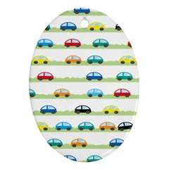 Small Car Red Yellow Blue Orange Black Kids Oval Ornament (Two Sides)