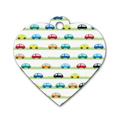 Small Car Red Yellow Blue Orange Black Kids Dog Tag Heart (Two Sides)