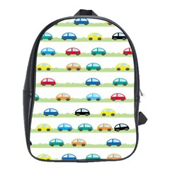 Small Car Red Yellow Blue Orange Black Kids School Bags(Large)