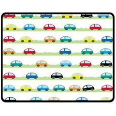 Small Car Red Yellow Blue Orange Black Kids Fleece Blanket (Medium)