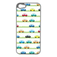 Small Car Red Yellow Blue Orange Black Kids Apple iPhone 5 Case (Silver)