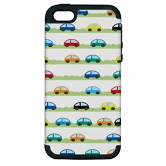 Small Car Red Yellow Blue Orange Black Kids Apple Iphone 5 Hardshell Case (pc+silicone)