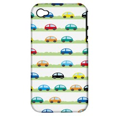 Small Car Red Yellow Blue Orange Black Kids Apple iPhone 4/4S Hardshell Case (PC+Silicone)